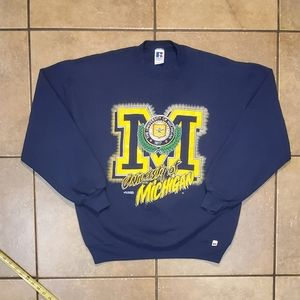 Vintage 90s University Of Michigan Russell Sweater